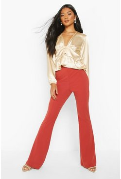 Womens Terracotta Seam Front Scuba Crepe Flares