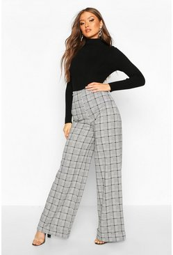 Womens Black Dogtooth Check Wide Leg Trousers