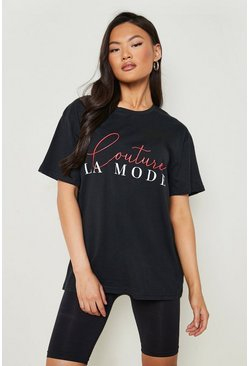Womens Black Couture Slogan T-Shirt