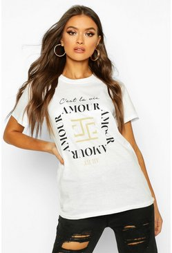 Dam White Amour Slogan T-Shirt