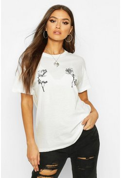 Womens White Rose Double Print T-Shirt