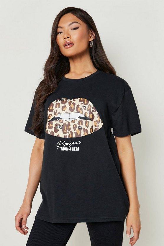 Leopard Lips Slogan T-Shirt