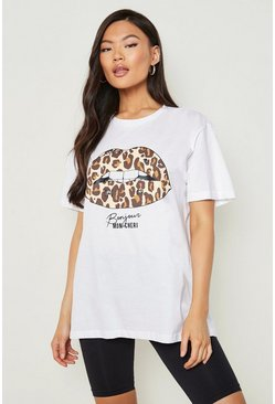 White Leopard Lips Slogan T-Shirt