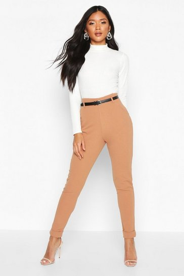 Camel Belted Turn Up Slim Fit Trousers
