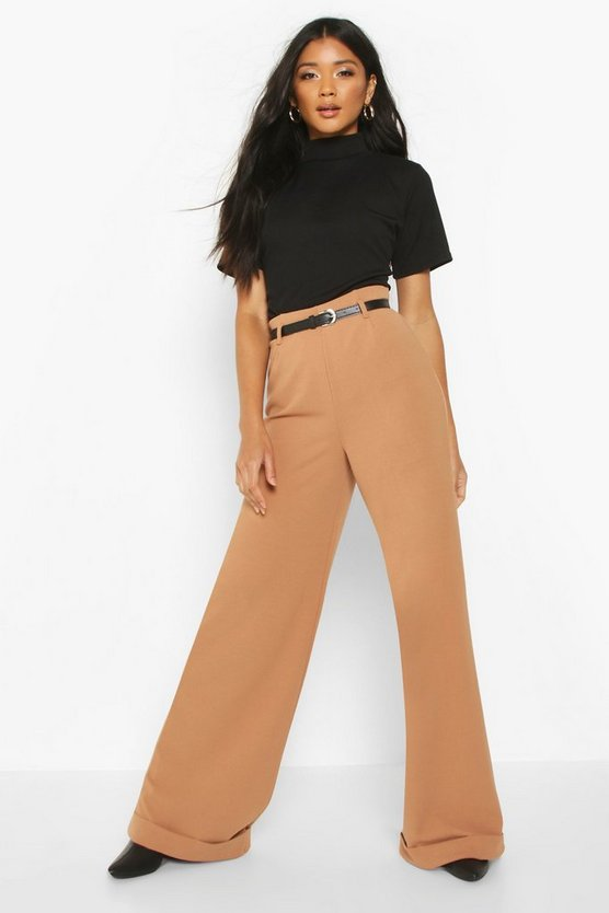 Belted Turn Up Wide Leg Trousers