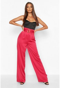 Berry Belted Wide Leg Woven Trousers