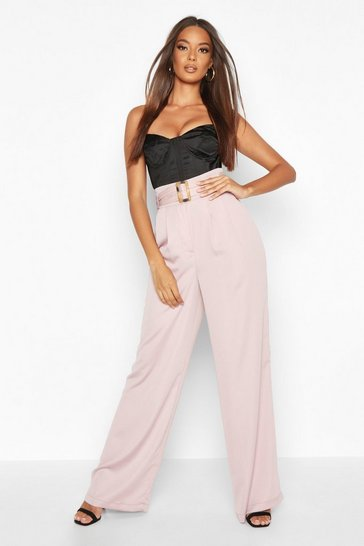 Womens Mauve Belted Wide Leg Woven Trousers