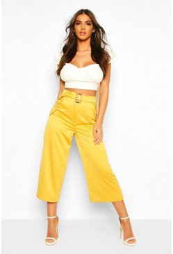 Womens Mustard Pocket Side Woven Culottes