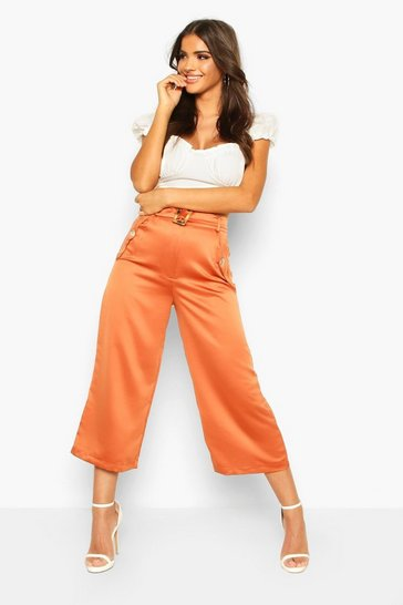 Womens Terracotta Pocket Side Woven Culottes