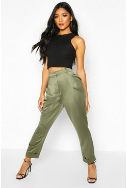 Womens Khaki Pleat Front Turn Up Woven Trousers