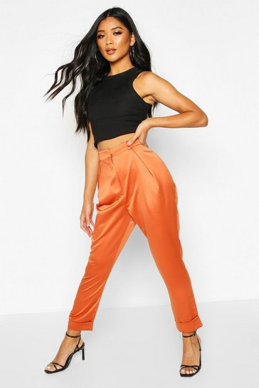 Womens Terracotta Pleat Front Turn Up Woven Trousers