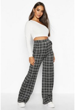 Grey Grid Check Wide Leg Trouser