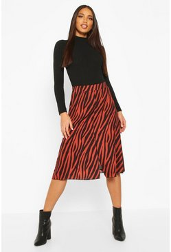 Womens Burnt orange Zebra Split Midi