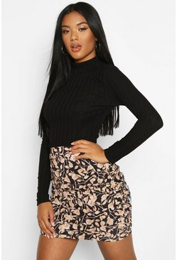 Black Floral Ruched Mini Skirt