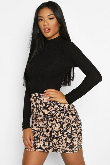 Womens Black Floral Ruched Mini Skirt