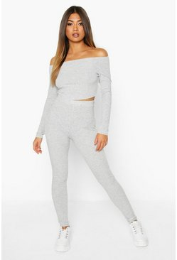 Womens Grey marl Rib Knit Bardot Cropped Top & Legging Set