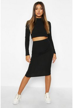 Womens Black Rib Knit High Neck Midi Skirt Set