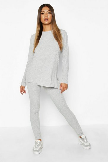 Grey marl Rib Knit Side Split Set