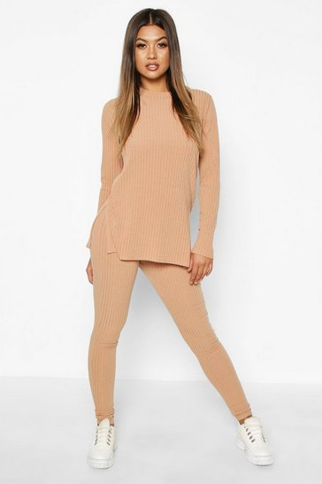 Womens Stone Rib Knit Side Split Set