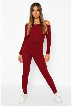Womens Berry Rib Knit Bardot Jumpsuit