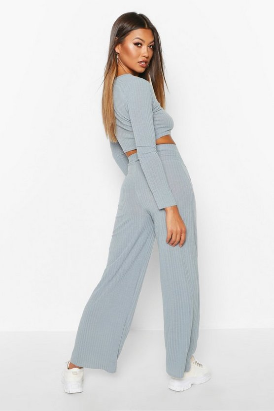 Rib Knit Crop T-Shirt & Trouser Set