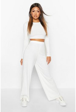 Womens Cream Rib Knit Crop T-Shirt & Trouser Set