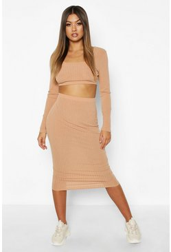 Womens Stone Square Neck Long Sleeve Top & Midi Skirt Set