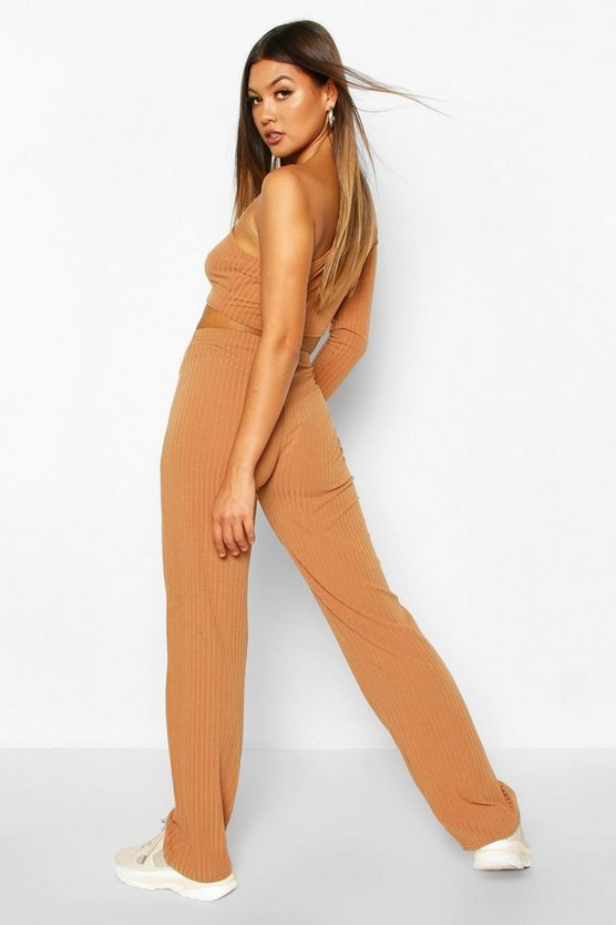 Rib Knit High Neck Long Sleeve Top & Trouser Set