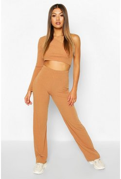 Toffee Rib Knit High Neck Long Sleeve Top & Trouser Set