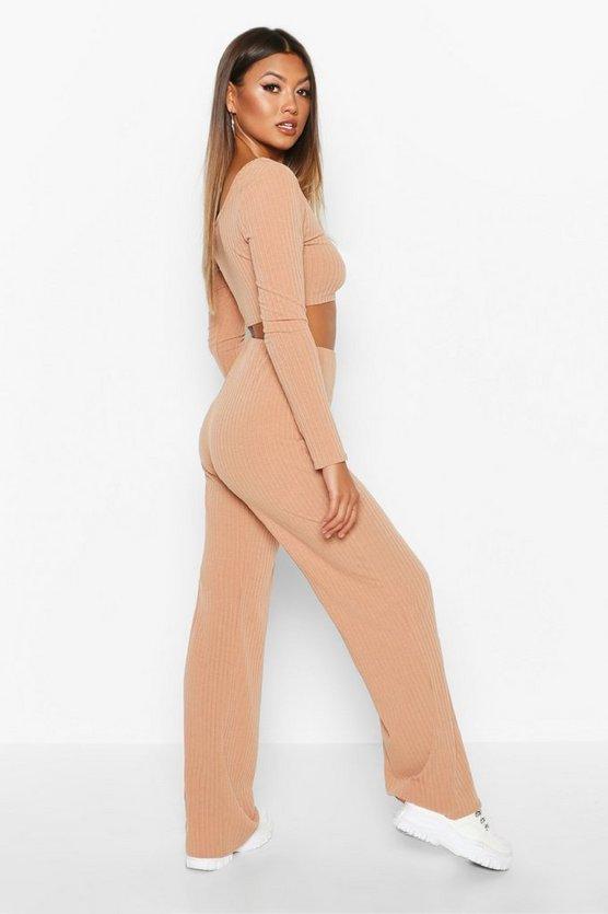 Rib Knit Square Neck Flare Trouser Set