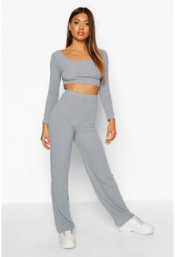Womens Slate blue Rib Knit Square Neck Flare Trouser Set