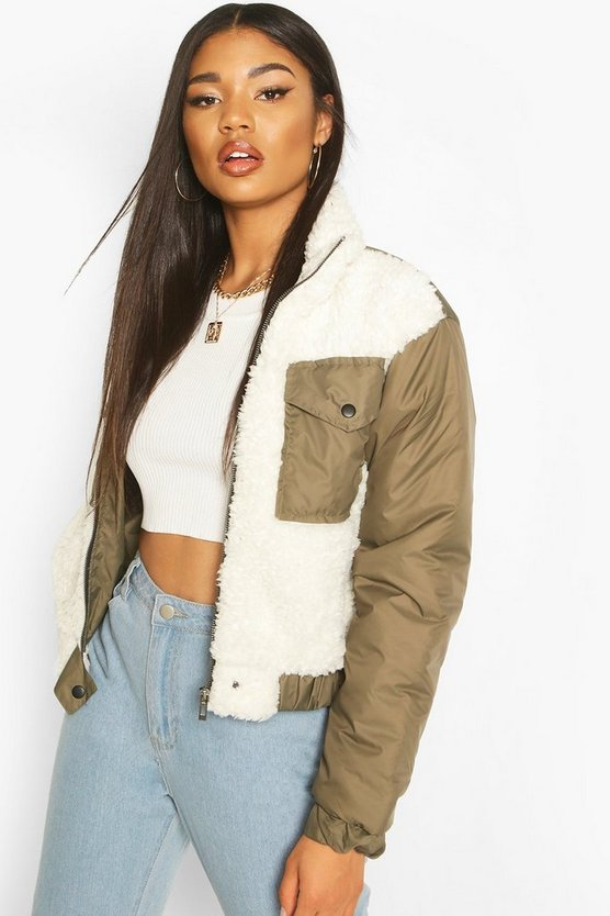 Khaki Teddy Faux Fur Mix Puffer Jacket