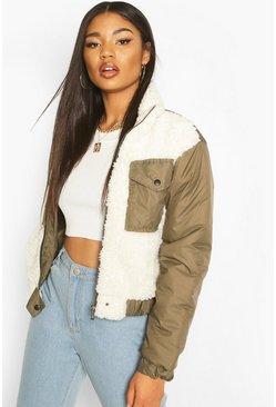 Womens Khaki Teddy Faux Fur Mix Puffer Jacket