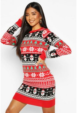 Womens Red Snowman Knitted Christmas Jumper Dress