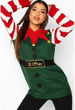 Womens Green Elfie Christmas Knitted Hoodie Jumper