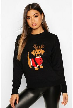 Womens Black Santa Sausage Dog Christmas Jumper