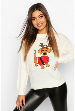 Womens Cream Santa Sausage Dog Christmas Jumper