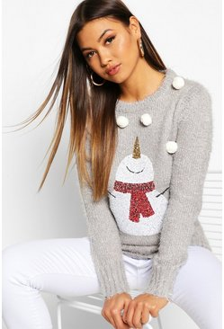 Womens Light grey Fluffy Knit Pompom Snowman Christmas Jumper