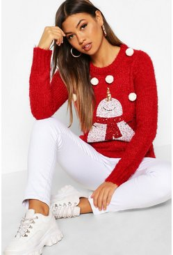 Womens Red Fluffy Knit Pompom Snowman Christmas Jumper