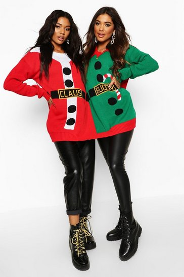 Womens Red Santa & Buddy The Elf Christmas Twin Jumper