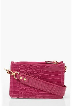 Womens Pink Croc Triple Pocket Cross Body Bag