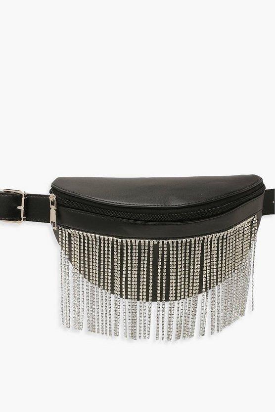 Diamante Fringe PU Bum Bag