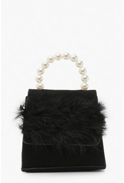 Womens Black Faux Fur Pearl Handle Bag