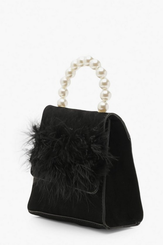 Faux Fur Pearl Handle Bag