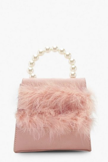 Womens Blush Faux Fur Pearl Handle Bag