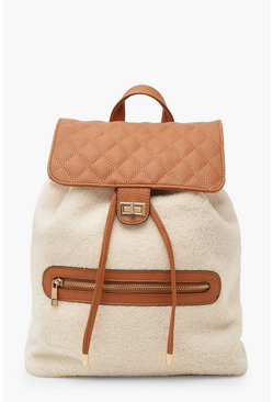 Dam Cream Borg PU Twist Lock Rucksack