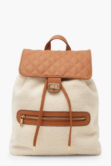 Womens Cream Borg PU Twist Lock Rucksack