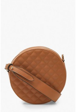 Tan Quilted Drum Cross Body Bag With Wide Strap