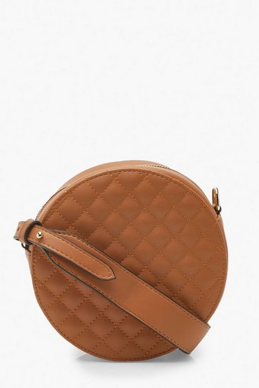 Womens Tan Quilted Drum Cross Body Bag With Wide Strap