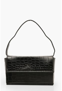 Black Croc Rectangle Box & Cross Body Strap Bag